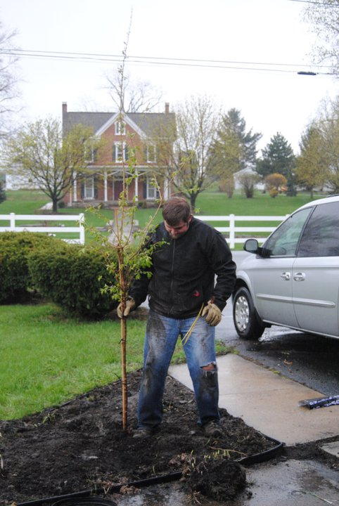 Planting our tree in Martinsburg in March of 2011 in remembrance of our Heaven Baby.